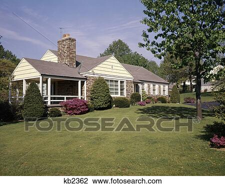 Stock Photo Of 1950s 1960s Stone Ranch Style House Home Nice Lawn