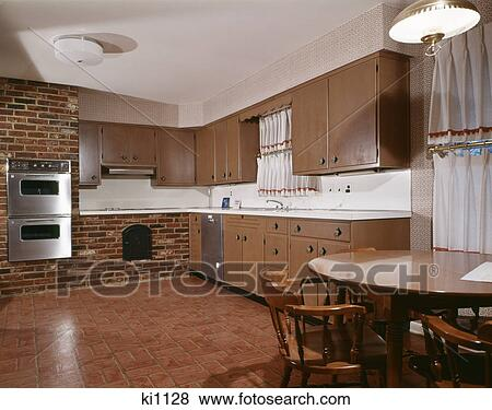 Pictures Of 1970s Kitchen With Dark Wooden Cabinets Brick