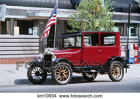 Stock photo of restored 1926 ford model t in front of old for Motor vehicle nj freehold