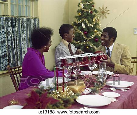 Pictures Of 1970S African American Family Mother Father Son Dining