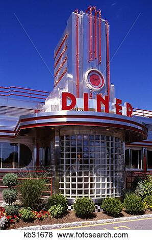 pictures of 1990s entrance to classic art deco style diner hyde park new york usa kb31678. Black Bedroom Furniture Sets. Home Design Ideas