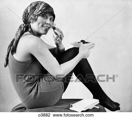 Stock Photo of 1920S Woman In Old Fashioned Bathing Suit With