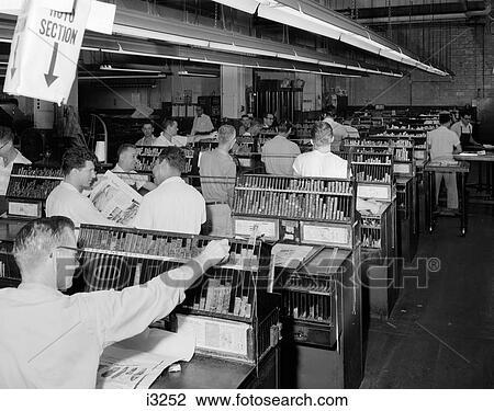 Stock Photo of 1950S Men Working In Newspaper Advertisement ...