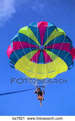 Stock Photography of Woman Parasailing ka7921 - Search ...