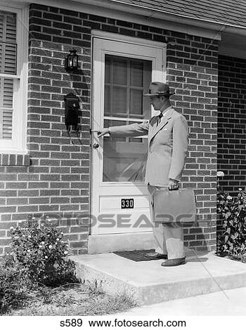 Stock photograph of 1950s door to door salesman man for Door to door salesman