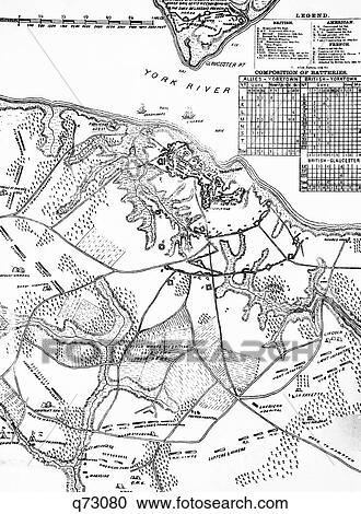 Stock Photography of 1700S 1770S 1781 Map Of Hampton Roads Showing