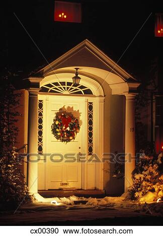 Christmas Front Door Clipart stock photography of 1970s front door house entrance in winter
