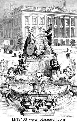 Stock photo 1800s 1871 political cartoon by c g parker design for