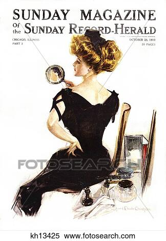 Stock Image Of 1900s Victorian Woman A Christy Girl Back View Sitting By Vanity Looking In