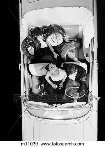 1950S Two Teen Couples In Convertible Car