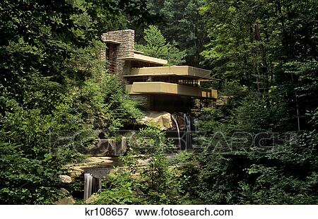 Immagine fallingwater casa disegnato vicino franco for Franco piani di lloyd wright