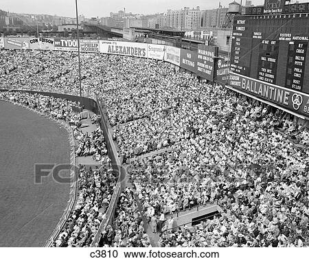 Stock Photography   1940S 1950S Large Crowd Yankee Stadium Bronx Nyc  Bleachers Advertising Signs Around The Part 92