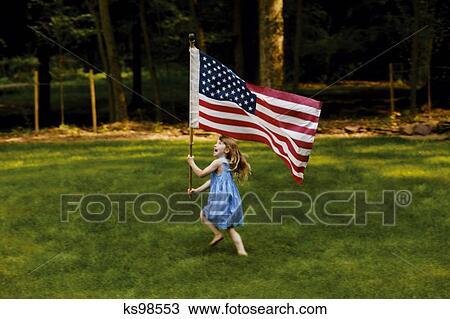 带 美国人旗