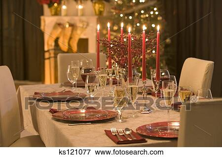 Table Set For Christmas Dinner picture of table set for christmas dinner ks121077 - search stock