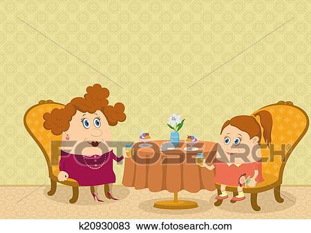 手绘图 - 母亲和女儿,