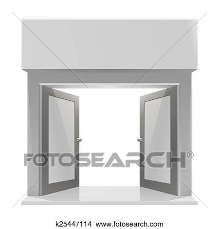 Store Doors Clipart clipart of the door to the store on a white background k25447114