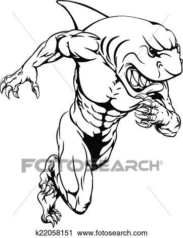 剪贴画 鲨鱼, 运动, 吉祥人, 跑