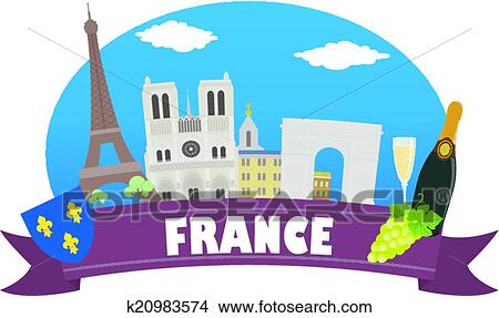 clipart of france tourism and travel k20983574 search clip art rh fotosearch com french clip art free french clip art oh lala