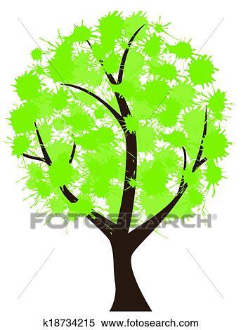 剪贴画 - 墨水, 树图片