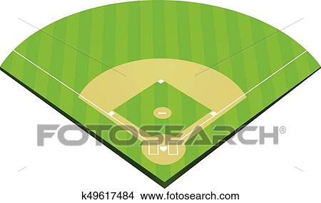 clipart of baseball field vector k49617484 search clip art rh fotosearch com baseball fielder clipart Baseball Field Diagram