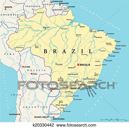 Clipart of Brazil Political Map k20330442 Search Clip Art