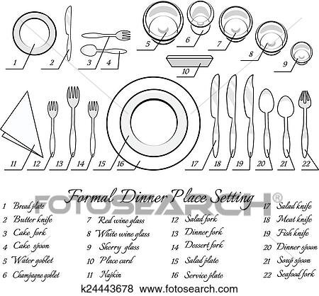 Formal table setting. The plan for the cutlery on the table. Vector illustration  sc 1 st  Fotosearch & Clip Art of Formal table setting k24443678 - Search Clipart ...