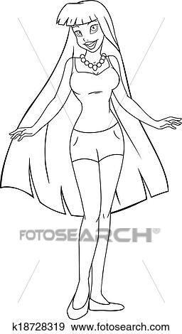 clip art of teenage girl in tanktop and shorts coloring page ... - Coloring Pages Teenagers Girls