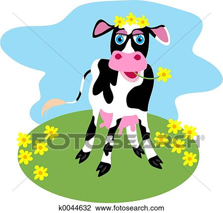 clip art of dairy cow k0044632 search clipart illustration rh fotosearch com daily clipart dairy clipart black and white