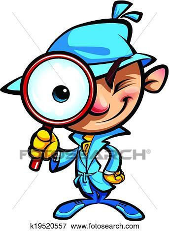 Clip Art of Cartoon cute detective investigate with coat and big ...