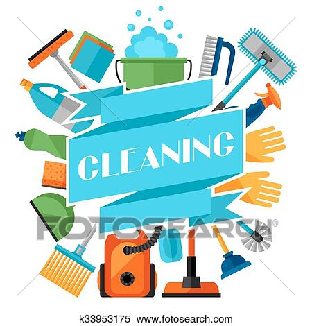 clipart of housekeeping background with cleaning icons k33953175 rh fotosearch com housekeeping clip art for preschool free housekeeping clipart images