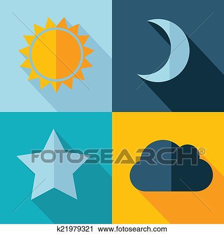 太阳, 星, 月亮, cloud