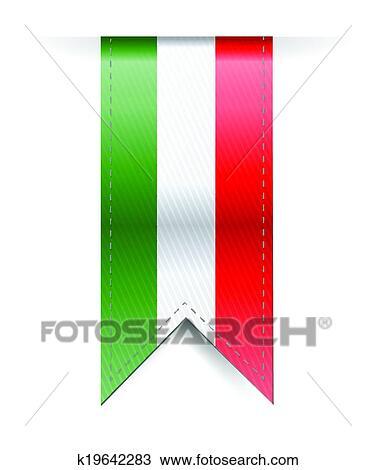 Clipart of italian flag banner illustration design ...