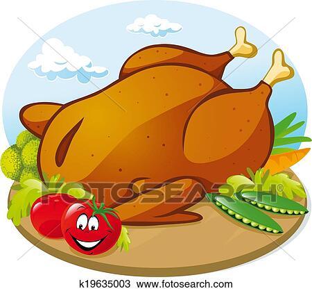 Clipart poulet r ti k19635003 recherchez des clip arts des illustrations des dessins et - Dessin de poulet roti ...