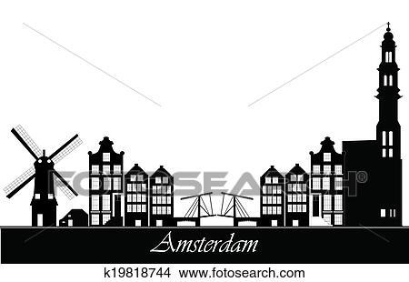 Kleurplaten Poster Zeichnungen Amsterdam Niederlande Skyline K19818744