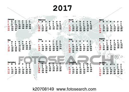 Clip Art - 2017 Calendar for