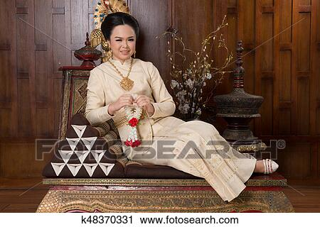 欢迎, 泰国, 泰国人, 白色, 穿, 等同性, 美丽, 老, 肖像, 背景, 艺术