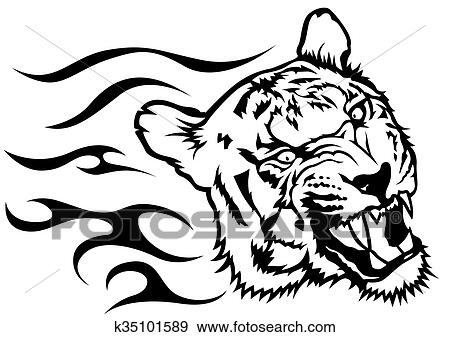 虎头, 带, 火焰, -, 黑白, 图, 描述, 矢量