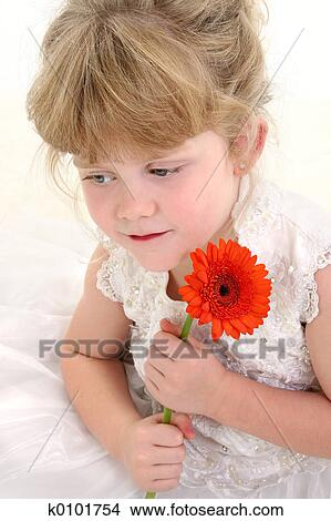 Bello, quattro, vecchio anno, ragazza, presa a terra, flower., colpo, in, studio, sopra, bianco, il portare, bianco, parata, vestire, e, capelli, su. - k0101754