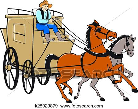 clip art of stagecoach driver horse cartoon k25023879 search rh fotosearch com Horse and Carriage Silhouette Horse and Carriage Silhouette