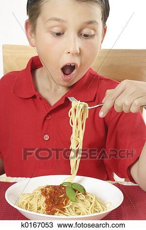 Kids Eating Pasta Prints