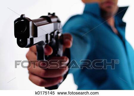 ストックイメージ - 人, ∥で∥, a, gun.. Fotosearch ...