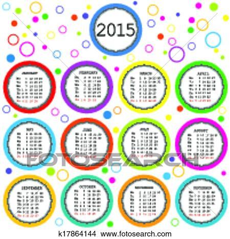 2015, calendario, para, niños, con, coloreado, círculos Ver Clip Art ...