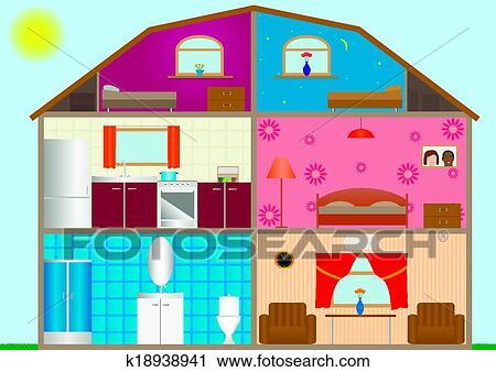 k18938941 House Interior Design Clip Art on house floor plan clip art, inside house clip art, house blueprint clip art,