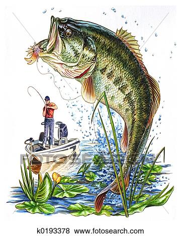 Stock illustration of bass k0193378 search eps clip art for Fish scenery drawing
