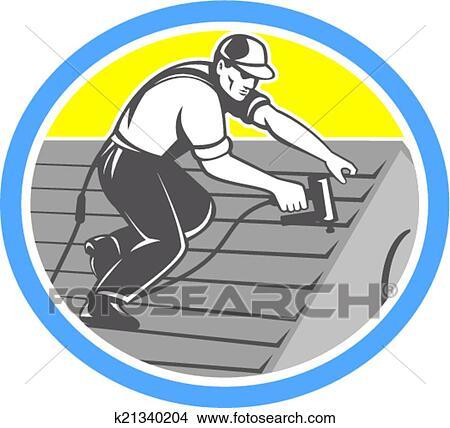 Dachdecker bilder clipart  Clipart - dachdecker, roofing, arbeiter, kreis, früher k21340204 ...