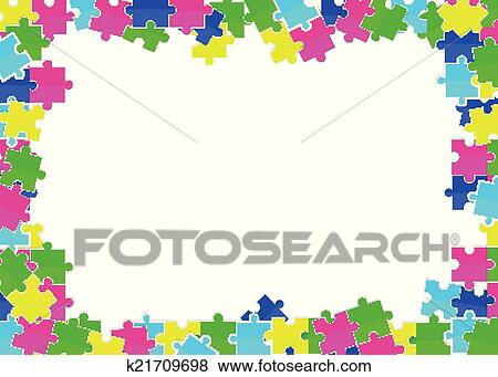 Clip art of frame from scattered colored flat puzzles toys for Cornice puzzle