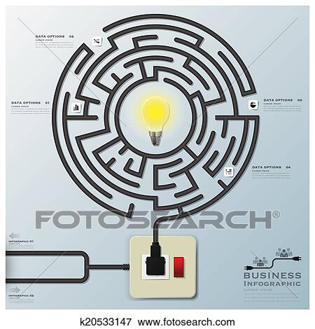 Clip Art Of Maze Light Bulb Electric Wire Line Business