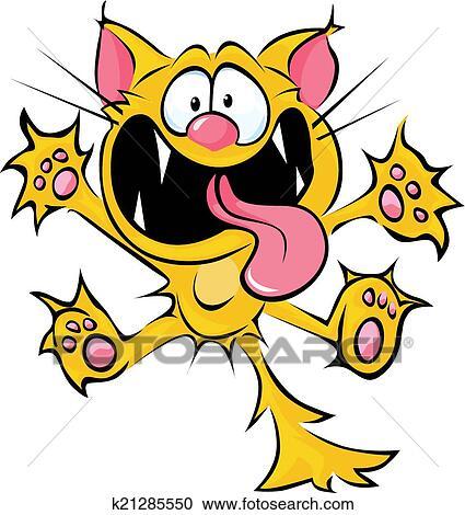 Clipart matto gatto cartone animato sputare e for Gatto clipart