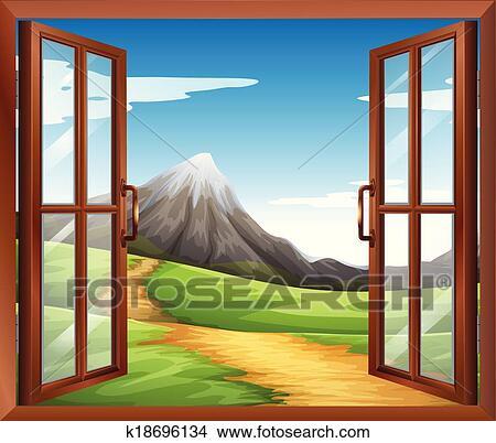 Clipart une ouvrir fen tre travers les montagne for Ouvrir la fenetre