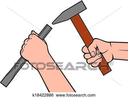 clip art h nde halten a hammer und mei el k18422886 suche clipart poster. Black Bedroom Furniture Sets. Home Design Ideas